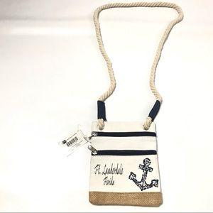 Aqualux Canvas Hip Bag Boho Chic Crossbody Ivory